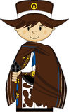 Cute Cartoon Cowboy Sheriff. Cute Cartoon Wild West Cowboy Sheriff in Poncho with Six Shooter Gun - EPS file also available Royalty Free Stock Image