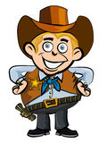 Cute cartoon cowboy smiling Stock Images