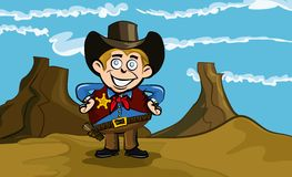 Cute cartoon cowboy smiling Stock Photos
