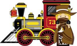 Cute Cartoon Cowboy and Train Stock Image