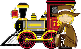 Cute Cartoon Cowboy and Train Royalty Free Stock Images