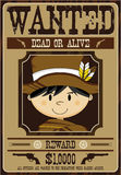 Cute Cartoon Cowboy Wanted Poster Royalty Free Stock Photography