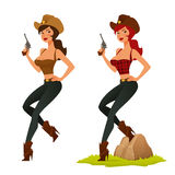 Cute cartoon cowgirl with pistol Stock Photography