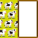Cute Cartoon Cows And White Board With Space Stock Image