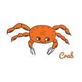 Cute cartoon crab. Ocean animal vector illustration. Sea creature in a funny, hand drawn style stock illustration