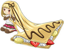 Cute cartoon crepe nymph, the goddess of dessert, create by vect Royalty Free Stock Image