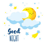 Cute cartoon crescent and clouds in the sky. Handwriting inscription Good night. Stock Photos