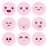 Cute cartoon cricle face with emotion Stock Photography