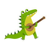 Cute cartoon crocodile character playing guitar vector Illustration Stock Images