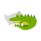 Cute cartoon crocodile character sleeping on a pillow vector Illustration Stock Image