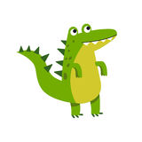 Cute cartoon crocodile character standing vector Illustration Royalty Free Stock Photos