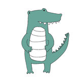 Cute cartoon crocodile character, vector isolated illustration in simple style. Royalty Free Stock Photo