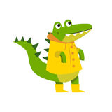 Cute cartoon crocodile character walking wearing yellow raincoat and rubber boots vector Illustration. Isolated on a white background Royalty Free Stock Photos