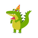 Cute cartoon crocodile character wearing party hat standing and holding pennant vector Illustration Stock Photography