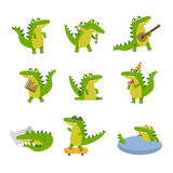 Cute cartoon crocodile in different situations, colorful characters vector Illustrations. Isolated on a white background Royalty Free Stock Photography