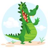 Cute cartoon  crocodile or dinosaur character. Isolated vector illustration. Cute cartoon  crocodile or dinosaur character. Wild  animal collection. Baby Stock Image