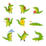 Cute cartoon crocodile in every day activities, colorful characters vector Illustrations Stock Photos