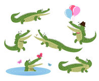 Cute Cartoon Crocodiles Isolated Illustrations Set Royalty Free Stock Photo