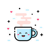 Cute cartoon cup of tea. Funny cartoon vector illustration, icon. Flat design. Outline Royalty Free Stock Photos