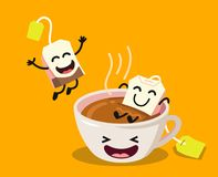 Cute cartoon cup of tea with happy tea bags. On yellow background. Vector flat illustration Stock Photo