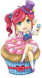 Cute cartoon cupcake nymph, the goddess of dessert, create by vector royalty free illustration