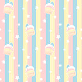 Cute cartoon cupcakes on colorful stripes seamless pattern background illustration Stock Image