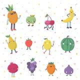 Cute cartoon cute fruits vector set. Funny characters. Cute cartoon cute fruits vector set. Funny characters in nice colors Stock Photos