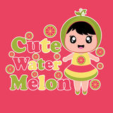 Cute cartoon with cute watermelon girl on pink background vector cartoon. For kid t-shirt background and wallpaper Stock Photography