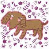 Cute cartoon dachshund. Cute cartoon smiling dachshund isolated in vector Royalty Free Stock Photography