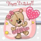 Cute Cartoon dancing Teddy Bear stock illustration