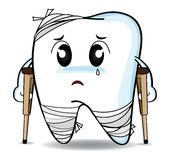 Cute cartoon Decay tooth or injury Royalty Free Stock Images