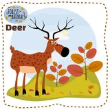 Cute cartoon deer on background landscape forest illustration, vector, isolated royalty free illustration