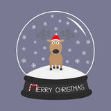 Cute cartoon deer Curly horns, red hat. Crystal ball with snowflakes. Merry christmas violet background card Flat design Royalty Free Stock Images