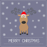 Cute cartoon deer with curly horns, red hat. Snowflake. Merry christmas Violet background card Flat design Stock Photo