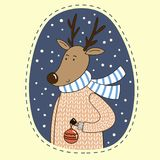 Cute cartoon deer in a sweater with a red bauble. Vector illustration Stock Photography