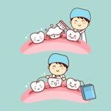 Cute cartoon dentist brush tooth Royalty Free Stock Image