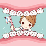 Cute cartoon dentist brush tooth. Cute cartoon dentist doctor brush tooth, great for health dental care concept royalty free illustration