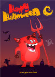 Cute cartoon devil. Vector poster for Halloween party. Royalty Free Stock Photos