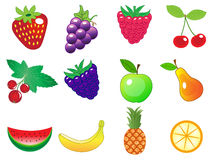 Cute cartoon different fruits icons set, vector illustration Stock Photo