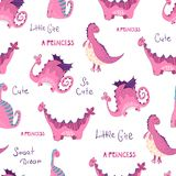Cute cartoon dino and lettering - seamless vector pattern vector illustration