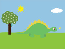 Cute Cartoon Dinosaur & Butterfly In Park Royalty Free Stock Image