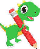 Cute cartoon dinosaur with pencil Stock Image