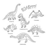 Cute cartoon dinosaur skeletons silhouettes in outline. Vector illustration. Set with dinosaur skeletons silhouettes. Ideal for coloring print and book Royalty Free Stock Images
