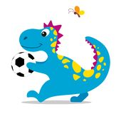 Cute and cartoon dinosaur with a soccer ball in its paws. Vector illustration on white background.