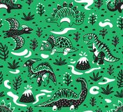 Cute cartoon dinosaurs seamless pattern in white, green and black colors. Vector illustration. Seamless pattern of dinosaurs, volcano, lava, ferns and leaves in Royalty Free Stock Photo