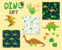 Cute cartoon dinosaurs set Stock Image
