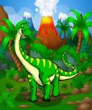 Cute cartoon Diplodocus. Vector illustration of a cartoon dinosaur Stock Photos