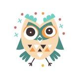 Cute cartoon dizziness owl bird colorful character vector Illustration Stock Photos