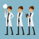 Cute cartoon doctor with glasses, in various poses Stock Photo