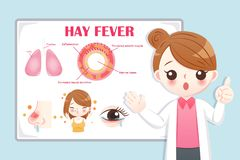 Cartoon doctor introduce hay fever. Cute cartoon doctor introduce feature of hay fever on the blue background royalty free illustration